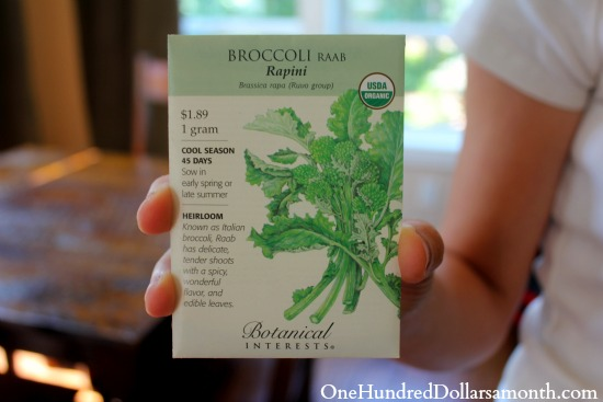 Broccoli raab seed packet