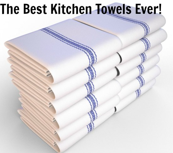 Kitchen Towels , White with Blue Stripe