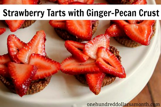 Strawberry Tarts with Ginger-Pecan Crust