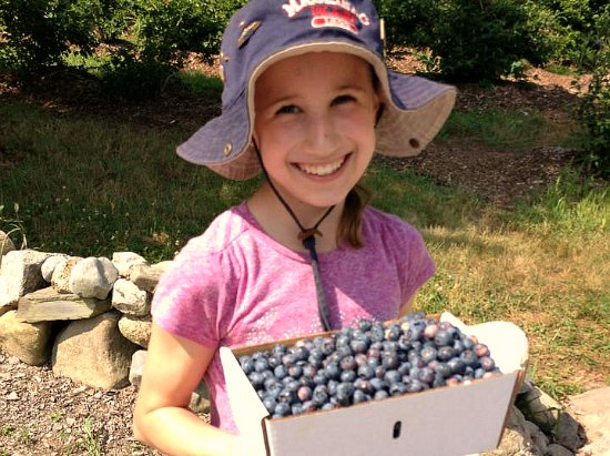 girl with blueberries