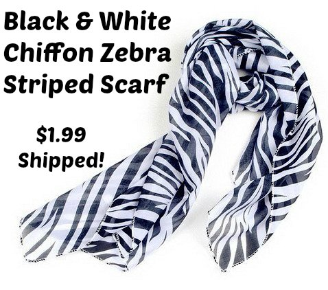 Black White Chiffon Zebra Strips Striped Women Shawl Scarves