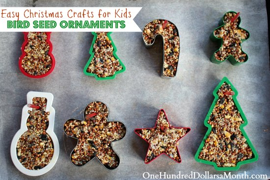 Easy christmas crafts bird seed ornaments one hundred for Easy christmas food crafts