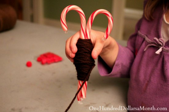 easy christmas crafts candy cane reindeer one hundred
