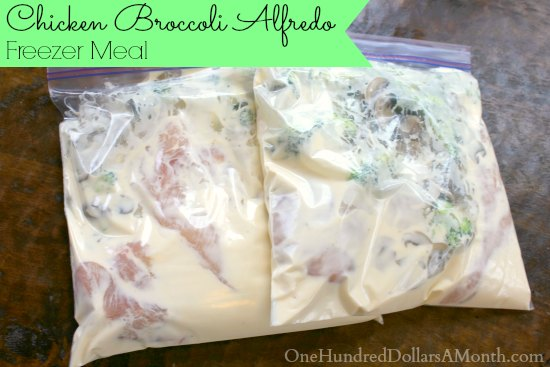 Freezer Meal Chicken Broccoli Alfredo