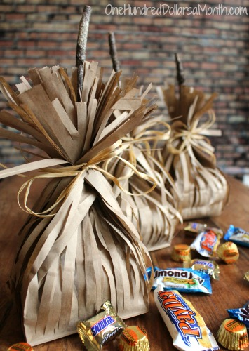 DIY Witch's Broom Paper Bag Party Favors