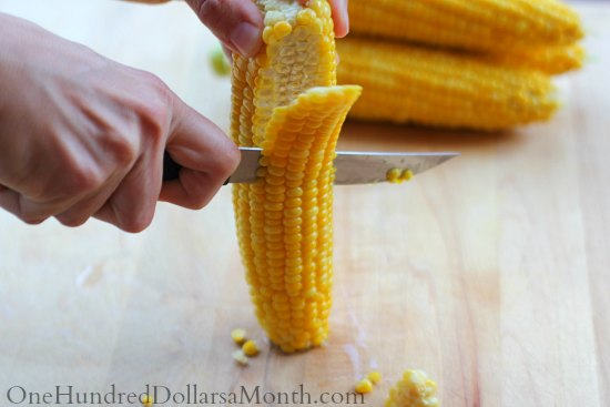 how to cut corn corn of the cob for freezing canning