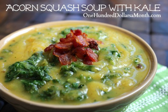 Acorn Squash Soup with Kale - One Hundred Dollars a Month