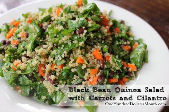 Vegan Recipe – Black Bean Quinoa Salad with Carrots and Cilantro
