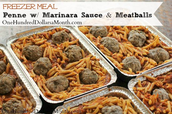 Freezer Meal - Penne with Marinara Sauce and Meatballs
