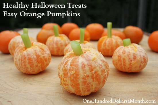 Healthy Halloween Treats Easy Orange Pumpkins