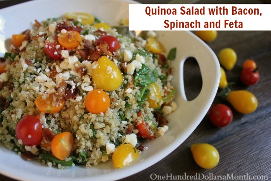 Quinoa Salad with Bacon, Spinach and Feta