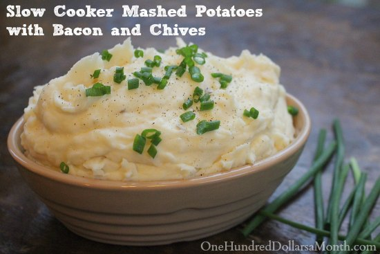 Slow Cooker Mashed Potatoes with Bacon and Chives