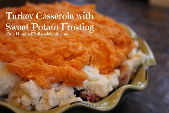 Thanksgiving Leftover Recipes – Turkey Casserole with Sweet Potato Frosting