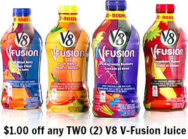 V8 V-Fusion juice coupons