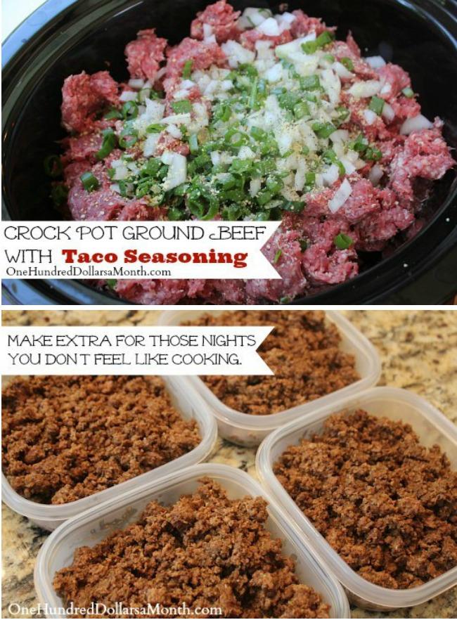 Crock Pot Ground Beef w/ Taco Seasoning