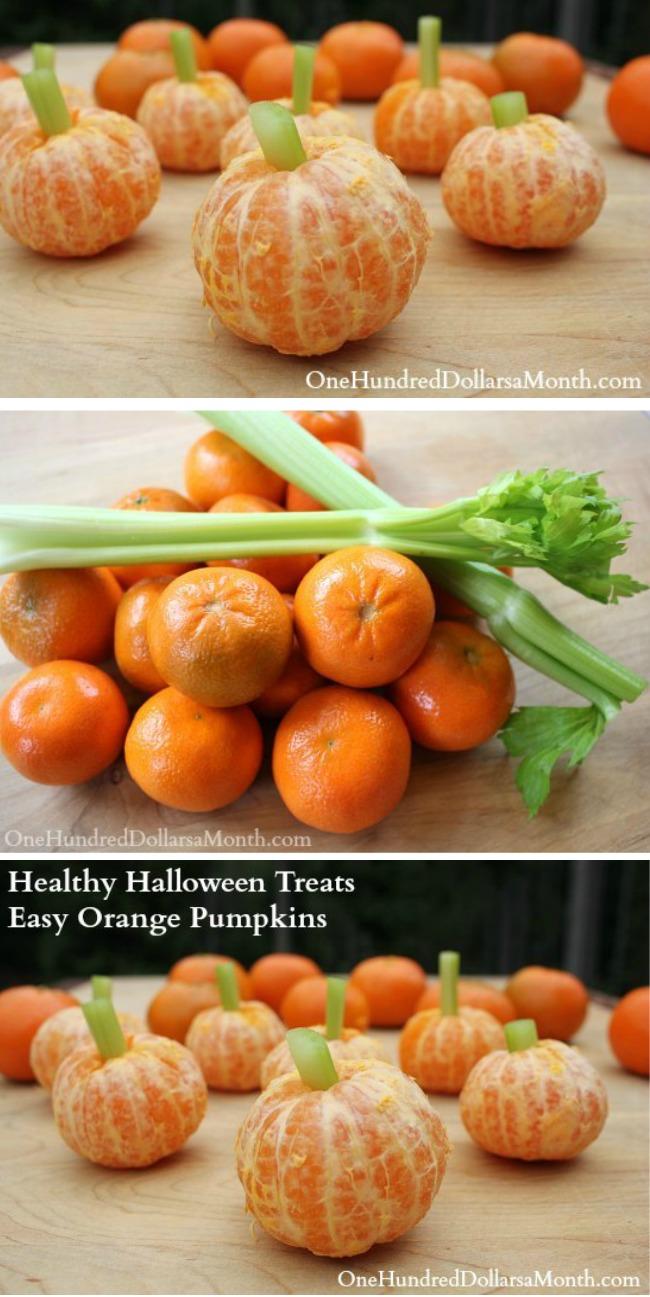 Healthy Halloween Treats: Easy Orange Pumpkins