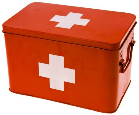 red metal first aid kit