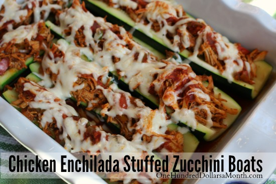 Chicken Enchilada Stuffed Zucchini Boats