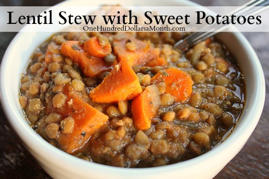 Crock Pot Vegetarian Lentil Stew with Sweet Potatoes