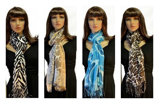 zebra print pashmina scarves