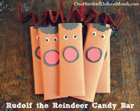 ... Kids Christmas Candy Craft Ideas – Rudolf the Reindeer Candy Bar
