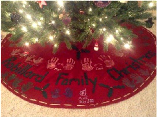 How to Make a No Sew Handprint Christmas Tree Skirt