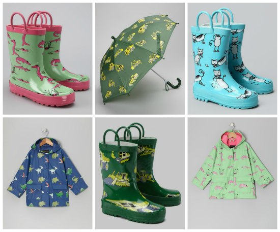 matching rain boots and umbrellas
