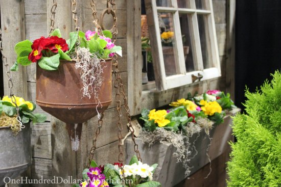 rusted funnel garden art