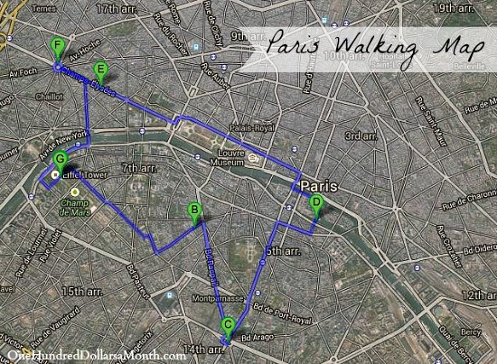 walking map paris france