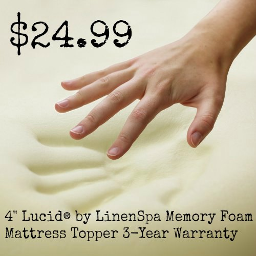 4 Lucid® by LinenSpa Memory Foam Mattress Topper 3-Year Warranty