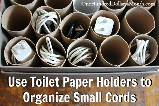 Use Toilet Paper Holders to Organize Small Cords (2)