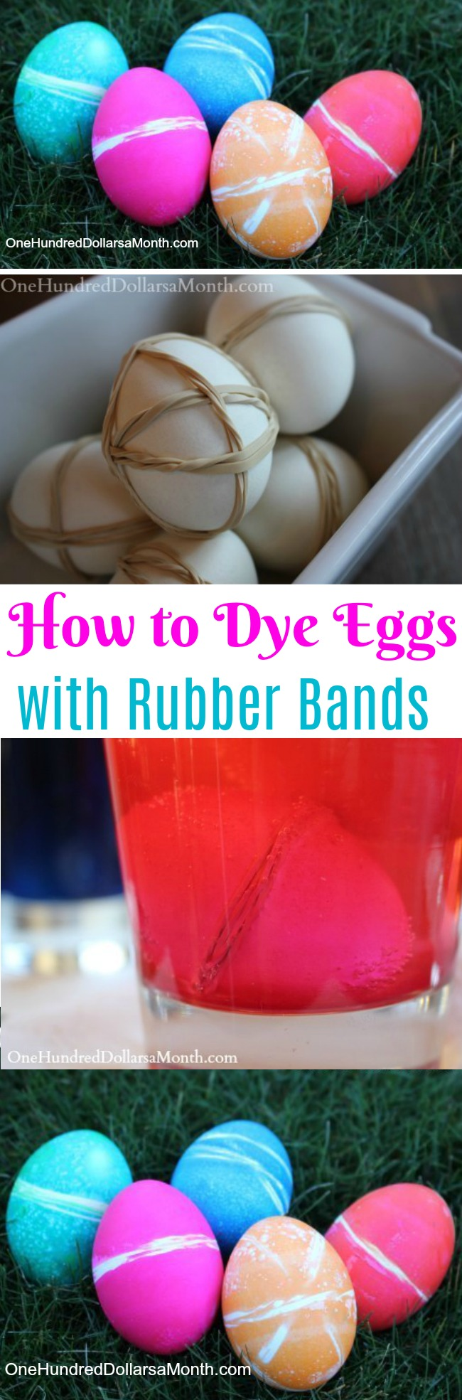Kids Easter Crafts – How to Dye Eggs with Rubber Bands