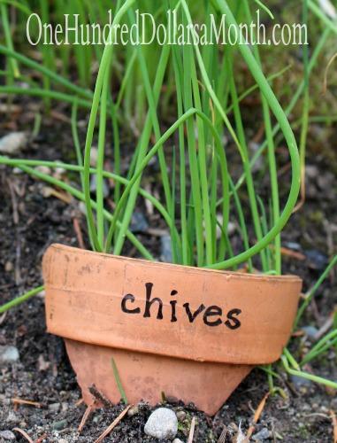 DIY Plant Markers From Broken Pots