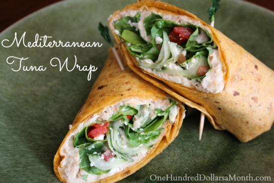 Feta Cheese and Cucumber Mediterranean Tuna Wrap