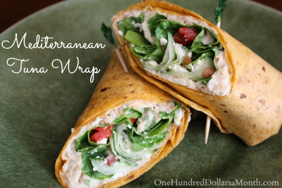 Feta Cheese and Cucumber Mediterranean Tuna Wrap