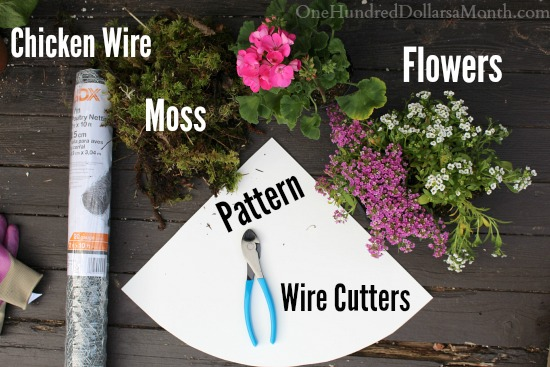 DIY Hanging Flower Basket Made with Chicken Wire and Moss