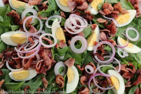 Spinach Salad w/ Bacon Dijon Dressing