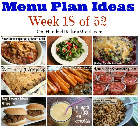 Weekly Meal Plan – Menu Plan Ideas Week 18 of 52
