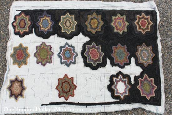 primitive hooked rug stars