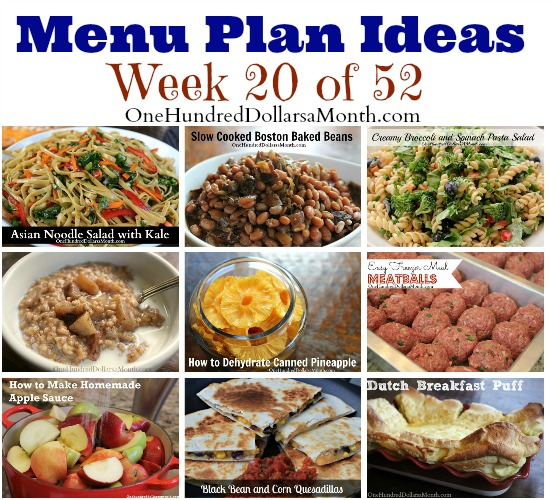 Weekly Meal Plan – Menu Plan Ideas Week 20 of 52