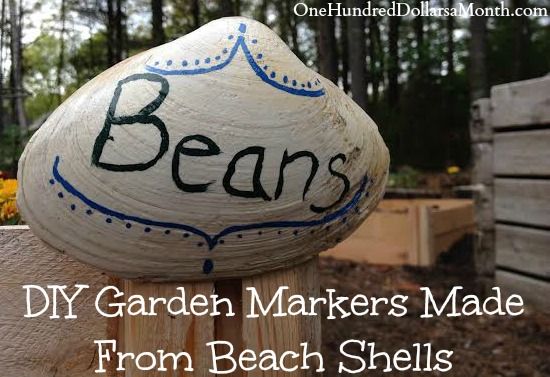 DIY Garden Markers Made From Beach Shells