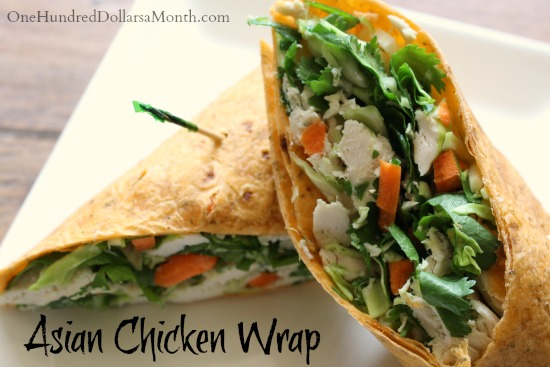 Asian Chicken Salad Wrap with Cilantro Honey Dressing