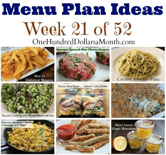 weekly meal plan - menu plan ideas week 21 of 52
