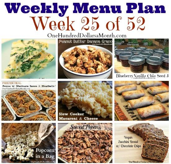 Weekly Meal Plan – Menu Plan Ideas Week 25 of 52