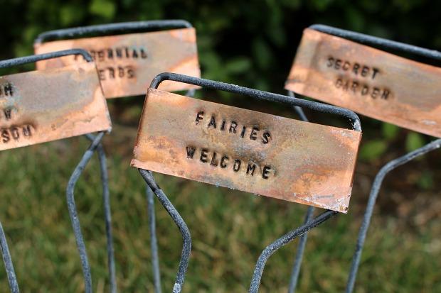 DIY Rustic Hand Stamped Copper Garden Markers