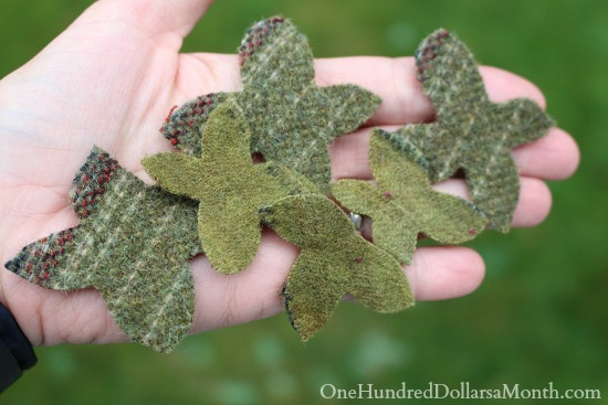 how to make felt berry leaves