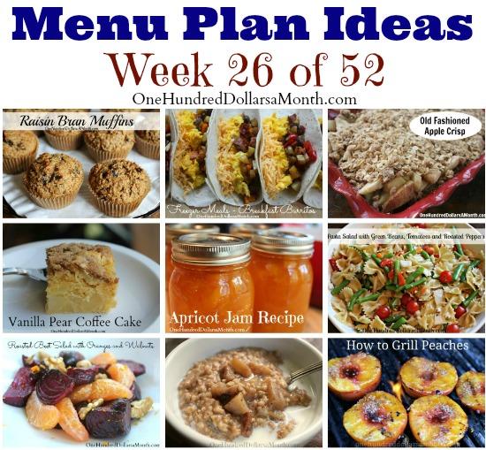 Weekly Meal Plan – Menu Plan Ideas Week 26 of 52