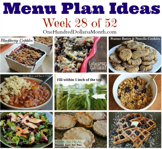 Weekly Meal Plan – Menu Plan Ideas Week 28 of 52