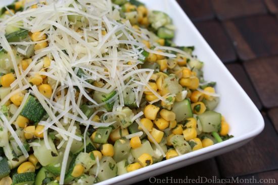 Cilantro Parmesan Zuchinni and Corn