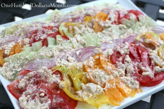 Tomato, Cucumber and Onion Salad w/ Feta